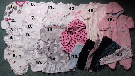 Paka-zestaw ciuszków 0-3mc,3-6mc Body,Bluzeczki,Getry,KombinezonWiosna