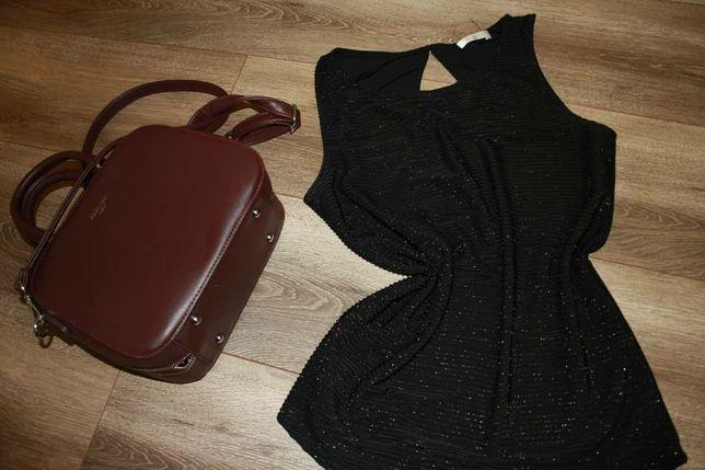 Блузка чорна блискуча