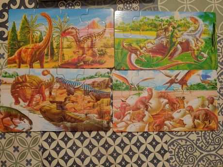 Drewniane puzzle dinozaury