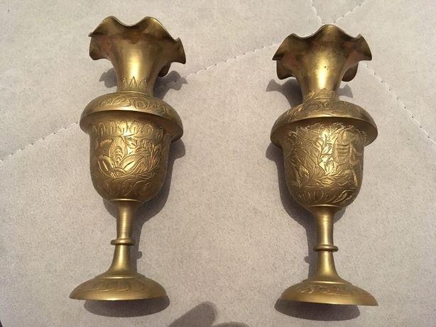 Jarras indianas em bronze, vintage, gravadas à mão
