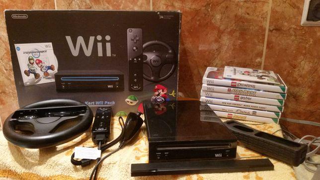Nintendo Wii Mario Kart Pack Pudełko Akcesoria + 6szt gier