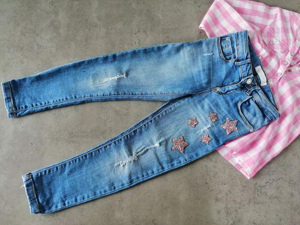 Jeansy Zara, spodnie, przetarcia, cekiny, gwiazdki, 116cm
