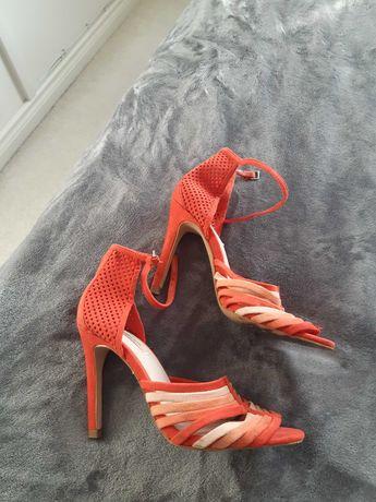 Buty sandały zamszowe paski damskie szpilki Zara 36