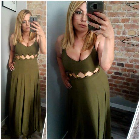 Długa suknia khaki