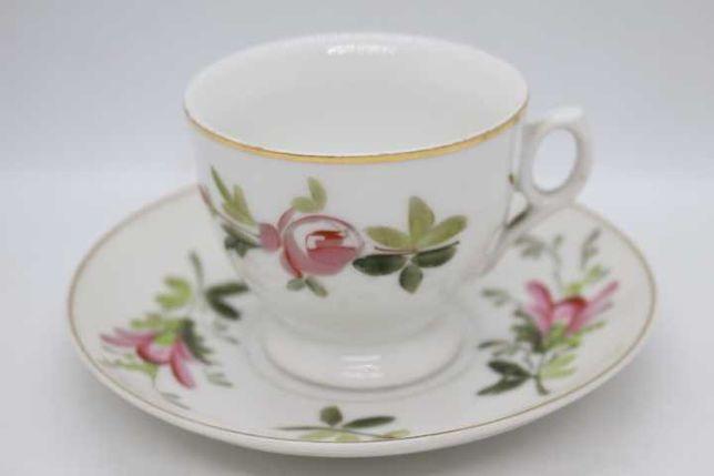 Chávena de Café Vista Alegre 1881 RARA Floral Rosa Pintura Manual