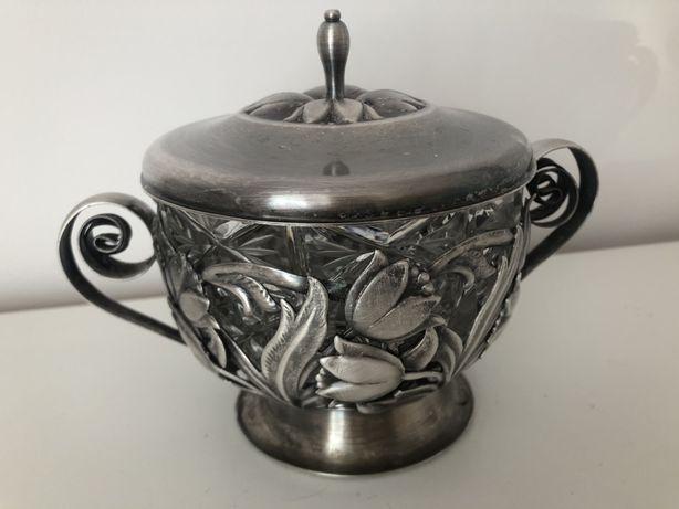 Cukiernica srebrna srebro koszyk kryształ zabytkowa vintage 14cm