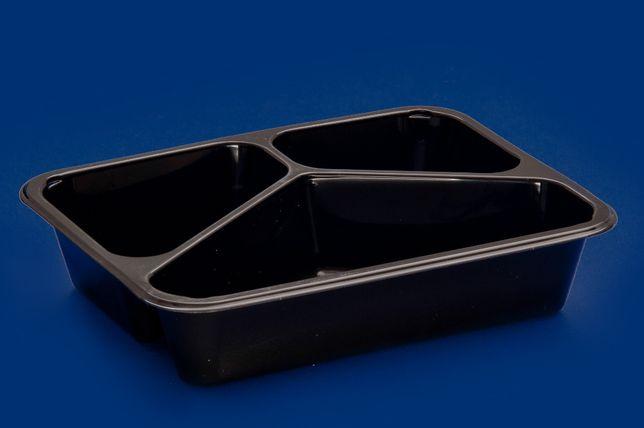 Pojemnik do zgrzewu obiadowy tacka czarny biały 3,4,5cm