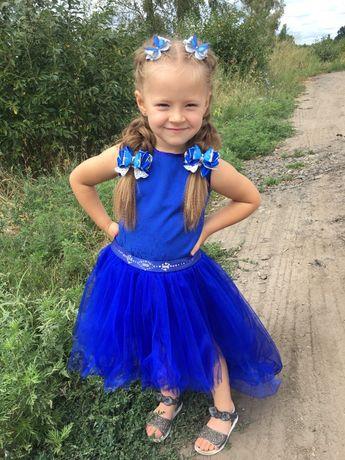 платье синее удлиненная юбка электрик