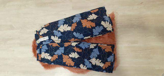 Nowe spodnie kuloty szeroka nogawka jesienny wzor