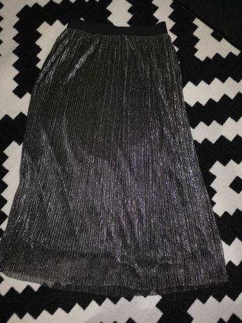 Spódnica długa elegancka srebrna 36/M