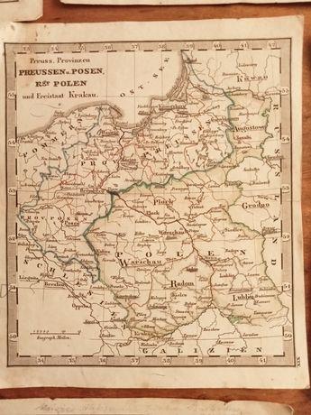 Mapa Mapki z okresu Księstwa Warszawskiego Królestwa Polskiego XIXw.