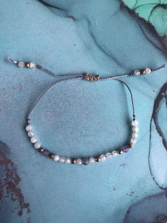 Handmade bransoletka z kamieni ksieżycowych i hematytow