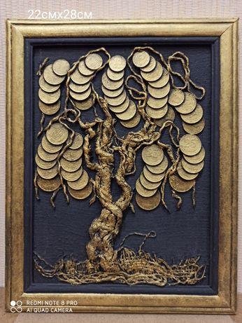 Картина, панно денежное дерево из монет