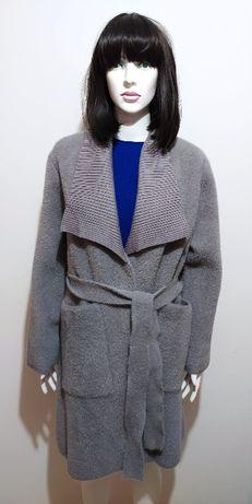 Płaszcz alpaka szary z paskiem