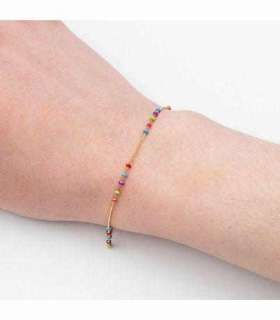 """Позолоченый браслет с разноцветными бусинами из эмали """"Радуга"""""""
