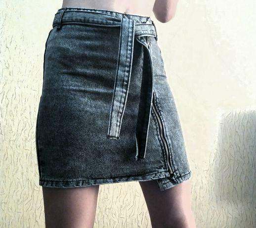 Джинсовая серая юбка