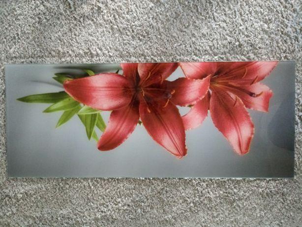 Obraz szklany na szkle 100 x 40 100x40 kwiaty lilie lilia