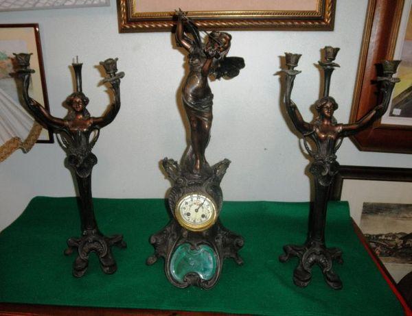Garniture Francesa Arte Nova Bronze