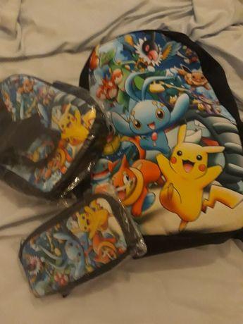 Conjunto de mochila, estojo e lancheira