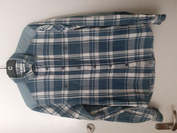 Cubus koszula w kratę jeans łaty niebieska regular fit