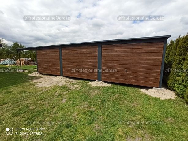 Garaż trzystanowiskowy drewnopodobny 9x6 plus wiata PREMIUM