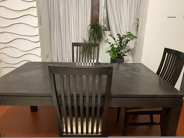 Большой раскладной стол + 3 стула