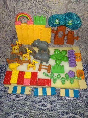Детский конструктор зоопарк жирафы слоны медведь