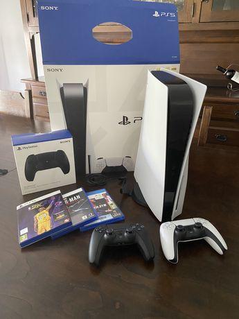 PS5 + 3 jogos + 2 comandos