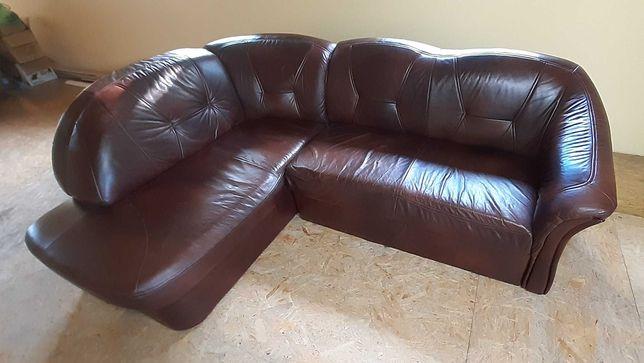 Narożnik skórzany rozkładany, kanapa, tapczan, sofa, funkcja spania