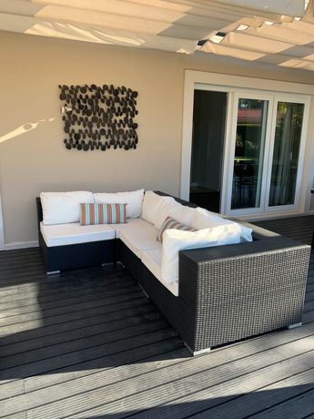 Conjunto Sofa de exterior com almofadas