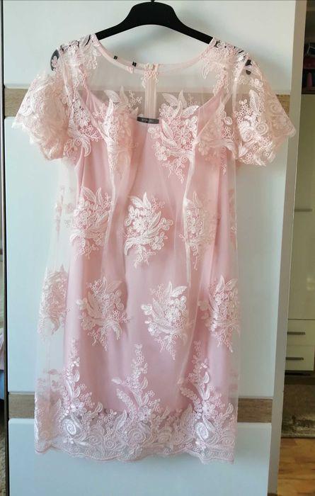 Sukienka koronkowa ette lou roz. 44 ślub wesele święta sylwester Dęblin - image 1