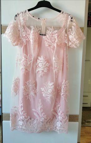 Sukienka koronkowa ette lou roz. 44 ślub wesele święta sylwester