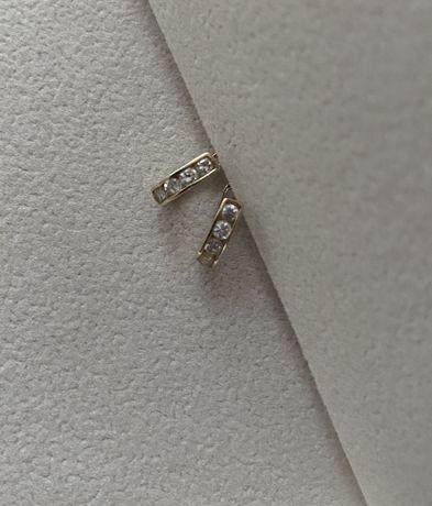 Kolczyki złote złoto zapięcie angielskie cyrkonie 585 z cyrkoniami