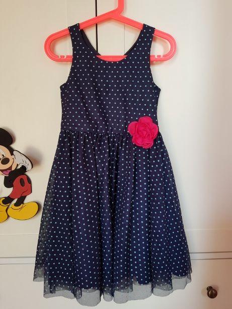 Śliczna Sukienka Granatowa w kropki H&M 122