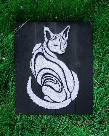 Obraz String Art, Kot 60x50cm, Rękodzieło