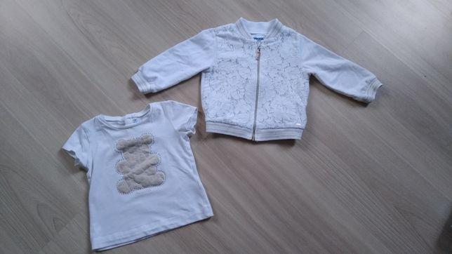 Zestaw MAYORAL biała+złota bluza i t-shirt 74/80/86 9-12, 12-18m