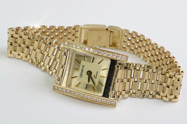 Prześliczny 14k złoty damski zegarek Geneve lw037 B