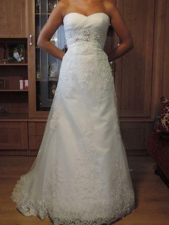 Piękna koronka suknia ślubna – kolor śmietankowy model Whitby