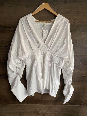 Elegancka bawełniana koszula bluzka dekolt v w serek marszczona xxl xl