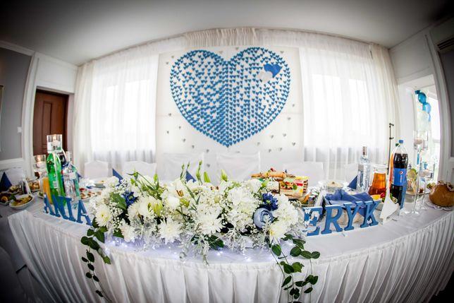 Ścianka Ślubna Serce Niebieskie Ściana Tło Ślubne