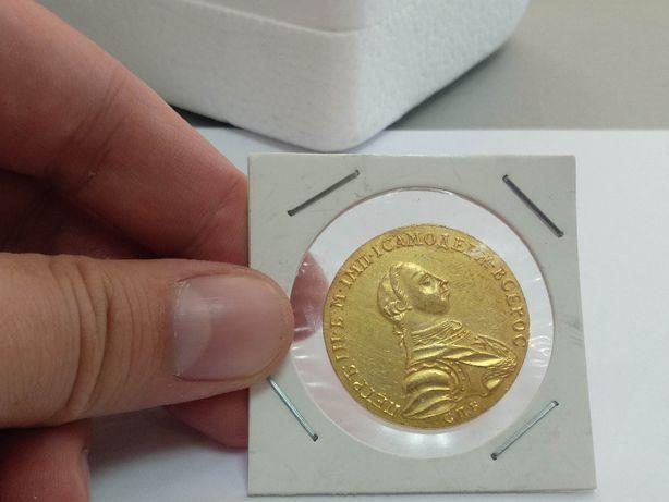 Монета Царская Россия 10 рублей Петра III 1757г. Китай