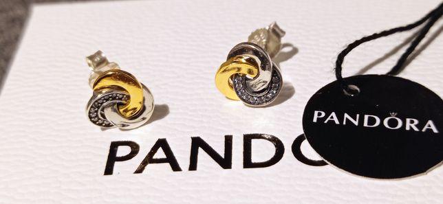 Kolczyki Pandora z węzłami cyrkonie srebro złoto sztyfty S925ALE