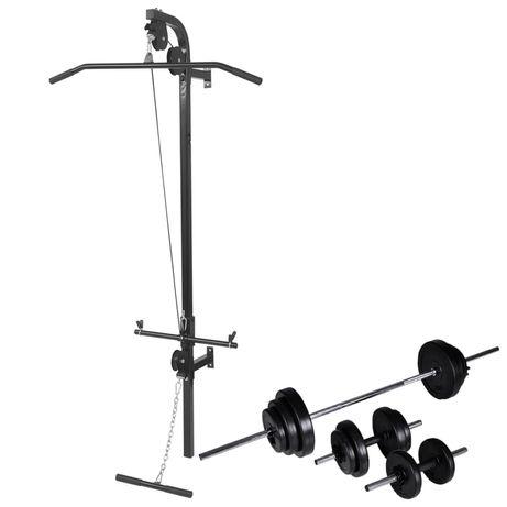 vidaXL Torre musculação parede com conjunto barras e halteres 30,5 kg 275358