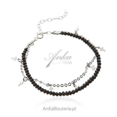 ankabizuteria.pl Biżuteria srebrna - bransoletka z czarnymi spinelami