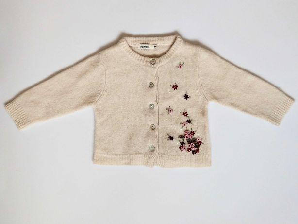 Sweter z miękkiej wełny z wyszyciami rozm. 74