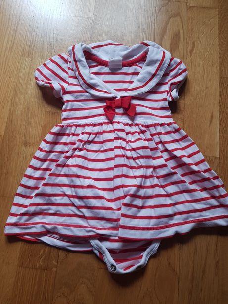 Sukienka sukieneczka niemowlęca z body 62 H&M