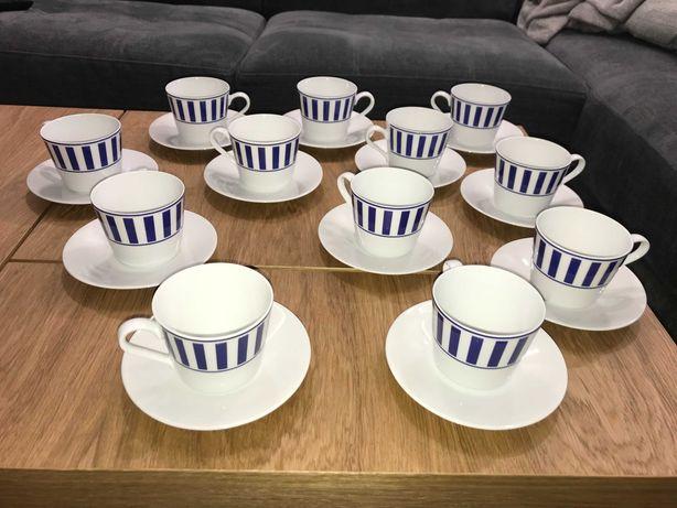 Filiżanki do kawy zestaw ze spodkami talerzykami komplet 24 szt porcel