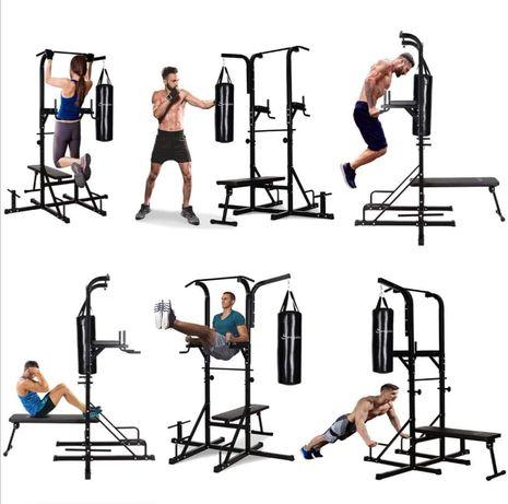Wielofunkcyjna stacja treningowa, ławka do ćwiczeń worek bokserski