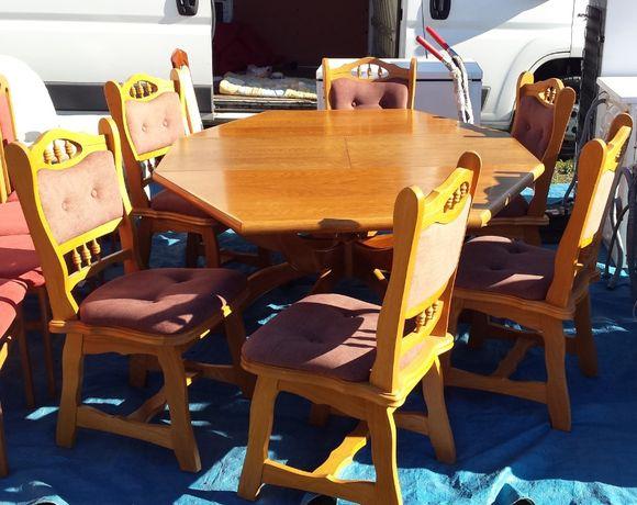 solidny drewniany stół z krzesłami zestaw meble do salonu jadalni