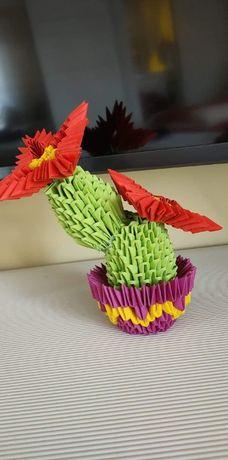 Ręcznie robione origami modułowe - Kaktus